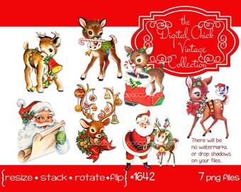 Digital Clipart, instant download, Vintage Christmas Images, deer, reindeer, fawn, antlers, Santa Claus clip art--Printable PNG Files 1642