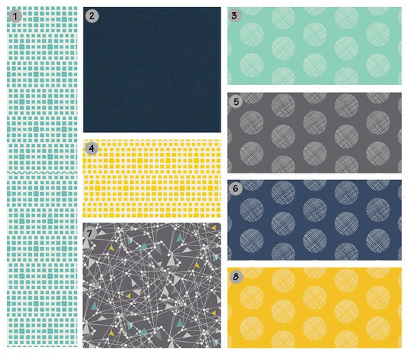 custom crib bedding yellow navy turquoise and by gigglesixbaby. Black Bedroom Furniture Sets. Home Design Ideas