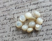 Tiny batch antique French Pearl glass buttons for sewing projects