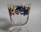 4 Short Stem Painted Sherry/Juice Glasses. Pretty As A Summer Meadow.