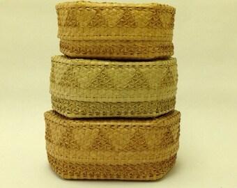 Nest of 3 Vintage Covered Baskets for Stacking or Storing