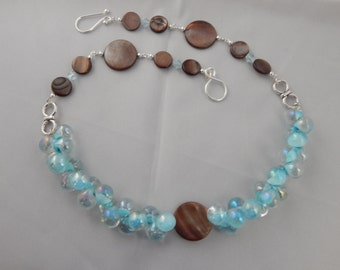 Brown and Blue Bubble Necklace