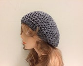 Crochet Beret Hat - TRUE GREY
