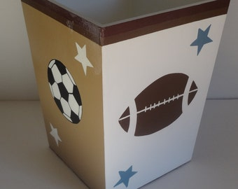Sports Themed Wastebasket- Football' Basketball' All Star and Soccer