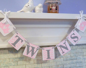 Twins Banner/ Baby Shower Decor/ Chevron Twins Baby Shower/ Nursery Decor/ Photo Prop/ Custom colors