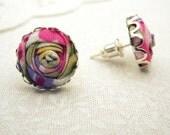 Ditsy Floral Earrings in Lilac Purple, Fuchsia Pink, Apple Green & Gold - Flower Earrings