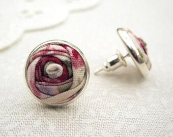 Tea Rose Earrings - Rose Earrings - Vintage Cream, Honeysuckle Pink & Lavender Floral Fabric