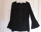 Vintage Black Evening Top, Vintage Black Jacket, Striking Beaded Buttons, Hollywood Elegance,Si Si Design, Bell Sleeves,Holiday top, Size 12