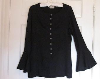 Vintage Black Evening Top, Vintage Black Jacket, Striking Beaded Buttons, Hollywood Elegance,Si Si Design, Bell Sleeves,Holiday top, Size 12