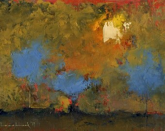 How to Believe in April — Original Oil Painting Landscape Painting by John W. Shanabrook, 5 x 7