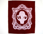 Cat Skull Cameo Sew On Punk Back Patch in Cranberry Limited Edition