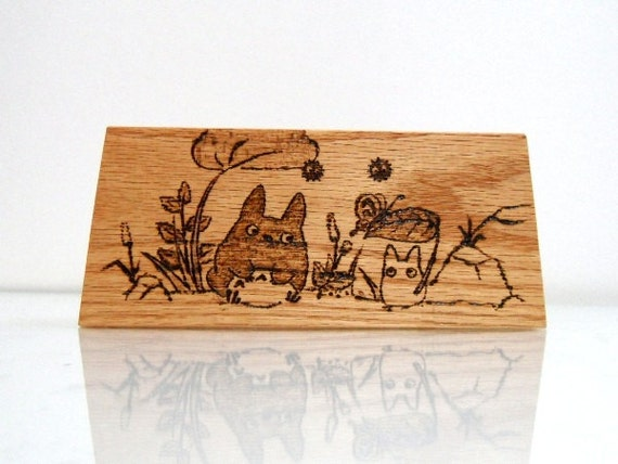 Hand-crafted Wood Pencils/Pens Holder - My Neighbour Totoro - Solid Oak - Made to Order