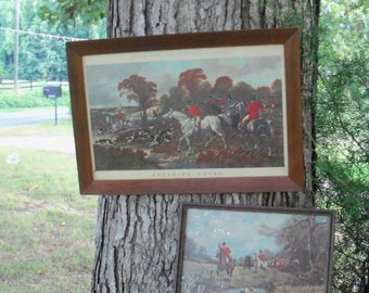 Foxhunting Art Pair Framed Prints Antique Estate Find Artists J.P. Herring & J.A. Wells Equine Lithograph Engraved Print