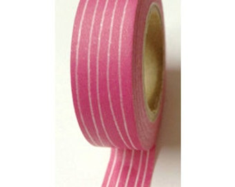 SALE Skinny White Line on Pink Washi Tape 11 yards 10 meters 15mm Skinny Lined Washi Tape Hot Pink Bright Pink