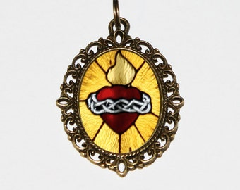 Sacred Heart Necklace, Religious, Jesus, Flaming Heart Jewelry, Oval Pendant