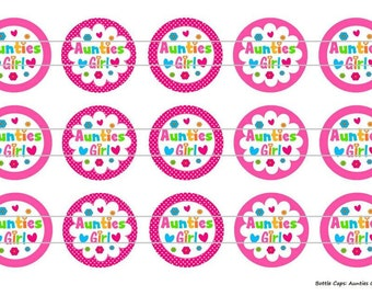 """15 Auntie's Girl 1 Images Digital Download for 1"""" Bottle Caps (4x6)"""