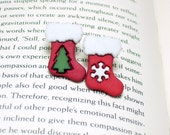Christmas Stocking Button Earrings, Button Jewelry, Christmas Earrings, Holiday Jewelry