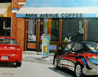Street Scene Cars Red Black Original Art Drawing Free Shipping