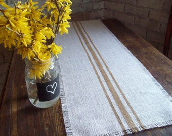 Striped Table Runner 10 x 36, 12 x 36 or 14 x 36, Small Table Runner, Burlap Table Runner, Taupe Stripes, Choice of Colors, Farmhouse Decor