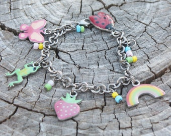 Vintage Childrens/Teen Charm Bracelet with Rainbow, Frog. Ladybug, Butterfly, Strawberry