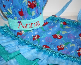 Ariel Little Mermaid Apron and Chef Hat with Personalized Embroidery - Girls Sizes 3-12
