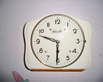 Vintage Mid Century Porcelain Schlenker Sohne Kitchen Wall Clock - Germany
