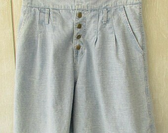 vintage 80s very high waisted button fly pleated front denim shorts w33 st tropaz made in usa 2 way look