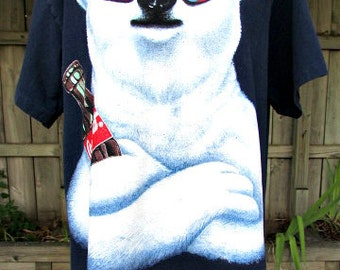 vintage 90s coke coca cola tee shirt  cool polar bear wearing shades holding a coke