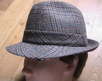 French 1960s Men Fedora Winter Hat - Wool Plaid  - MADE in FRANCE - New/Old Stock - M - US : 7.1/4