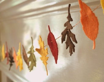 SALE Leaf Felt Garland for Fall