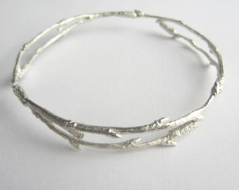 Silver Twig Bangle, arctic twig bangle, birch twig bangle, nature jewellery, woodland jewellery, ice jewellery, winter jewellery,