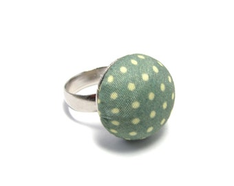 Polka Dot Ring - Sage Green Ring with Dots - Adjustable SIlver Plated Ring Base - Fabric Covered Preppy Button Ring - Retro Jewelry - 1950s