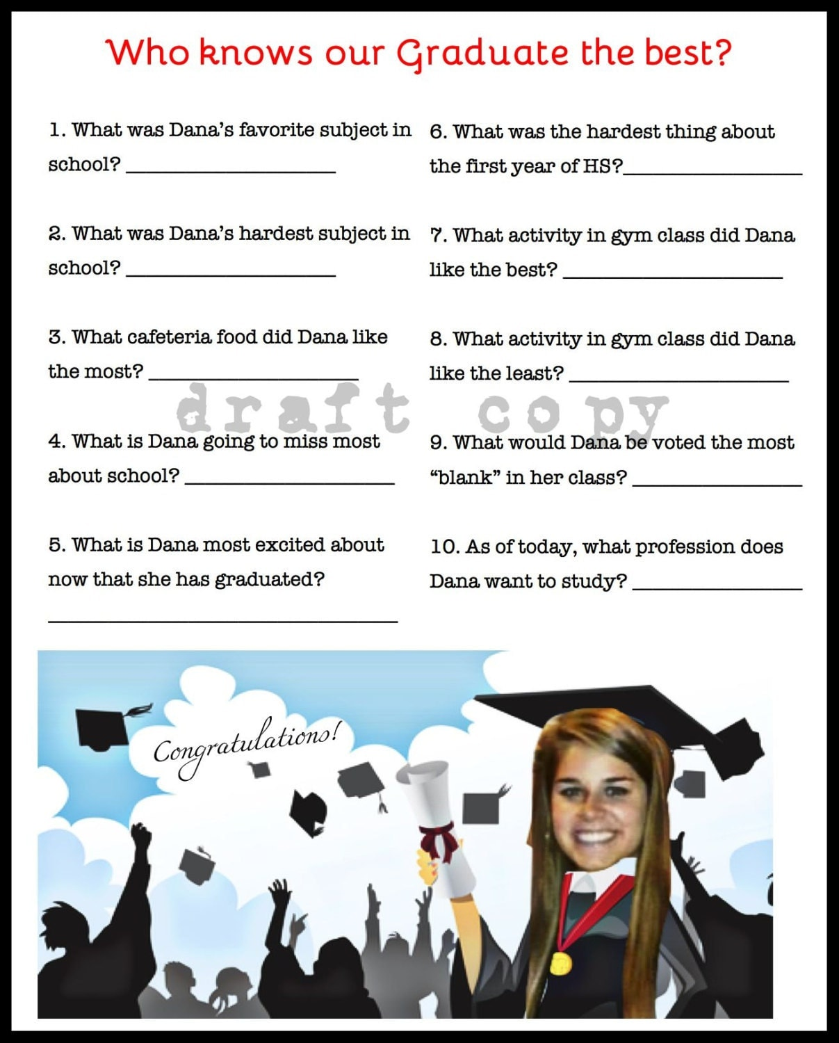 Playful image with free printable graduation party games