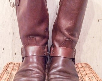 Acme Brown Harness Moto Boots size 9D