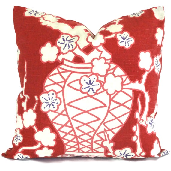 SALE Red Cachet Pot Chinoiserie Decorative Pillow Cover 22x22