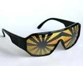 Rasslor Gold Lens Black Frame ShieldSunglasses