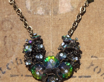 Stunning One of a Kind Vintage Rivoli Crystal Necklace Gatsby Sassy Sisters Jewelry