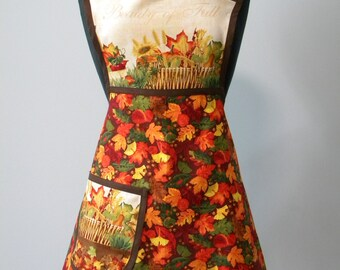 WOMENS APRON-Beauty of Fall Retro-Style Apron