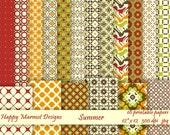 """Digital Scrapbooking Paper Patterned Background Printable - 18 designs - 12""""x 12""""- 300 dpi - jpg - SUMMER"""
