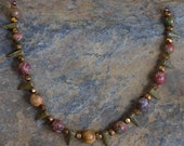 Tribal dagger Czech Picasso glass necklace with semi precious stones & vintage beads