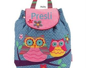 Personalized Girl Backpack Stephen Joseph Quilted Signature Owl NEW STYLE
