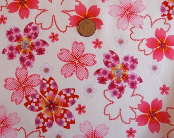 Japanese cherry blossom fabric on cream with glitter by Kona Bay - Sakura Collection (1 yard)