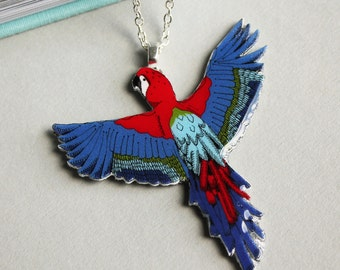 Parrot Necklace - parrot jewelry -bird necklace - parrot jewellery - summer necklace - tropical necklace - statement necklace - pendent