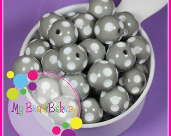 6 Pieces 20mm Grey Polka Dot Indented Retro Style Round Acrylic Beads Chunky Bead Necklaces and Bracelets DIY Crafts