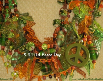 Fiber Art Sale!! Macrame Hemp  Necklace Glass Lampwork Beads, Swarovwski Crystals, Crow Beads and Acrylic Leaves  Free Ship USA USPS