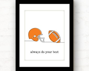 do your best // football decor // motivational wall decor // football print // football room decor