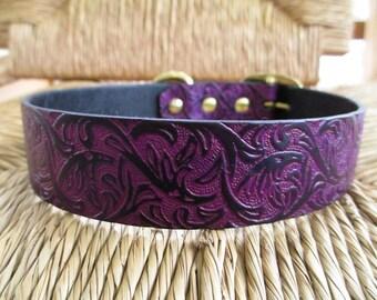 "Black Violet Leather Dog Collar. 1 1/4""  Purple and Black  Embossed Western Vine Collar."