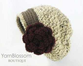 CROCHET PATTERN Rose Slouchy Hat (3 sizes included from 1 year-adult) Instant Download