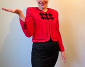 90s red black frogs closure cropped zippered blazer jacket S