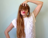 90s white cable knit pointelle short sleeved sweater